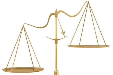 unbalanced: Empty golden scales. isolated on white. Stock Photo