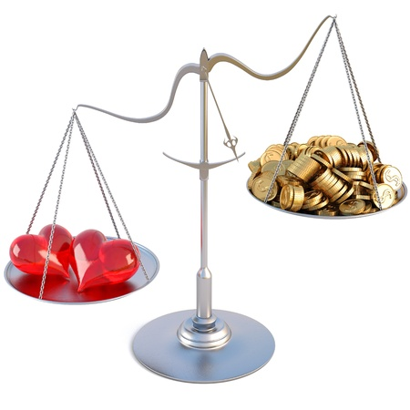 outweigh: two loving hearts outweigh the pile of gold coins on the scale. isolated on white.