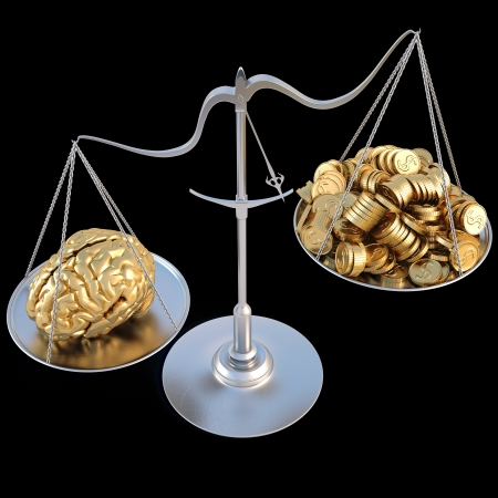 weigher: golden brains outweigh the pile of gold coins on the scale. isolated on black.