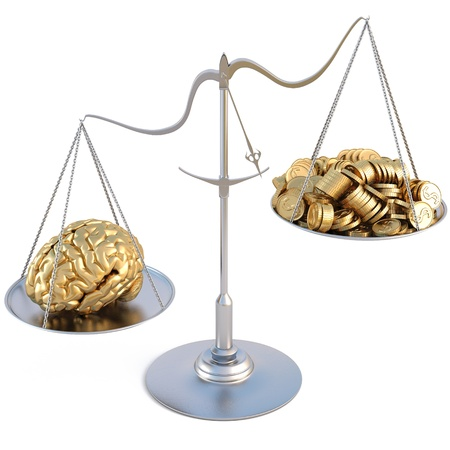compare: golden brains outweigh the pile of gold coins on the scale. isolated on white.