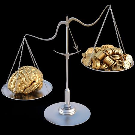 outweigh: golden brains outweigh the pile of gold coins on the scale. isolated on black.