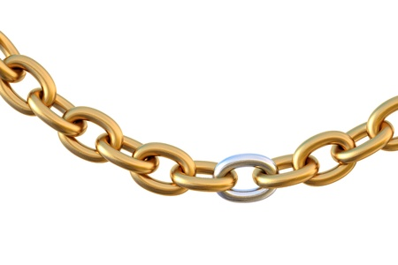 metal wire: golden chain with a silver link. isolated on white.