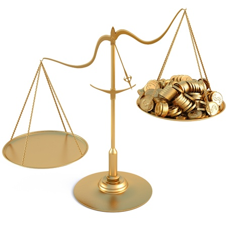 golden coins: jewelry scales with a heap gold coins. isolated on white. Stock Photo