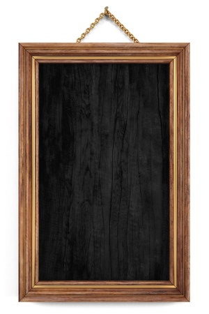 wooden menu board with golden frame. isolated on white. photo