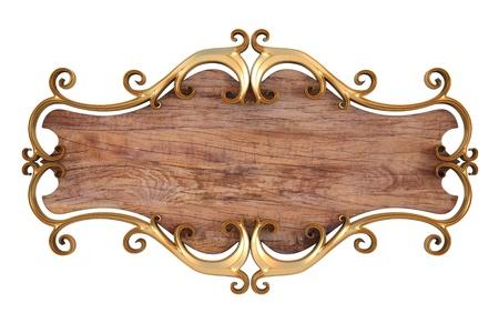panel de madera con oro forjado marco. aislado en blanco.
