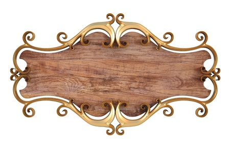 wood sign: wood panel with gold forged frame. isolated on white.