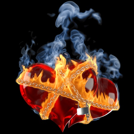 heart heat: two hearts linked together by a burning chain. isolated on black. Stock Photo