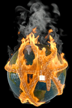 globe entangled by chains in the fire. isolated on black. Stock Photo - 10341505
