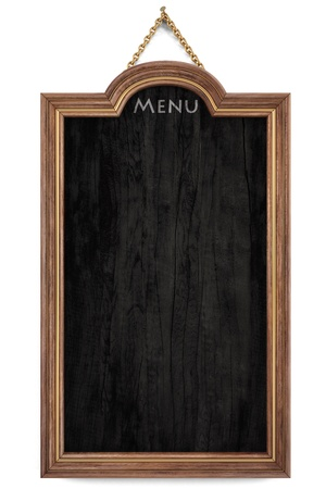 wooden menu board with golden frame. isolated on white. Stock Photo - 10347842