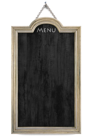 panels: wooden menu board with golden frame. isolated on white. Stock Photo