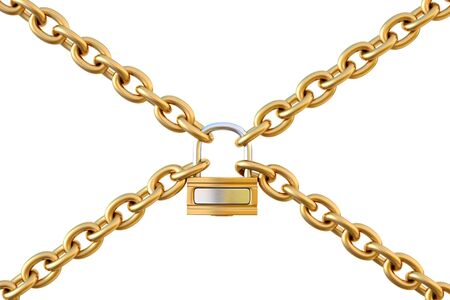 chains are joined together by a padlock. isolated on white.
