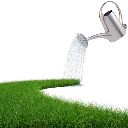 water can: watering can pouring water on the road from the grass. isolated on white. Stock Photo