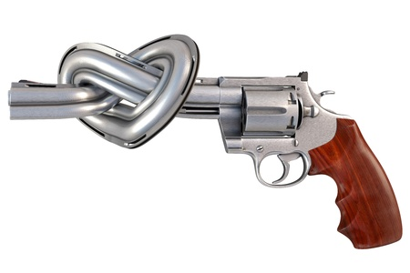 revolver with the barrel tied in a heart-shaped. isolated on white. photo