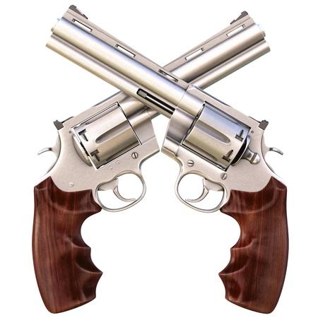 pistolas: dos rev�lveres cruzadas. aislado en blanco. Foto de archivo