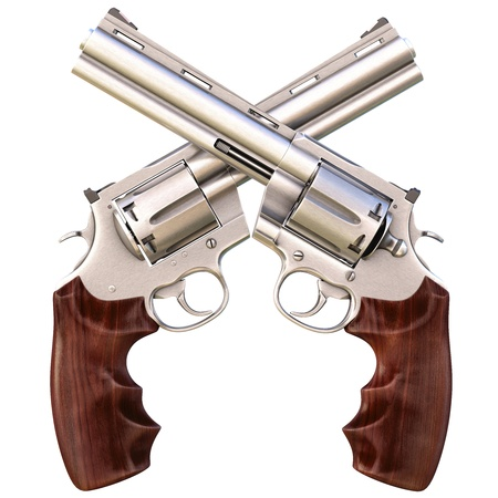 two crossed revolvers. isolated on white. Stock Photo