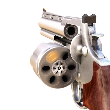roulette: Revolver con un tamburo rotante aperto. isolated on white. Archivio Fotografico