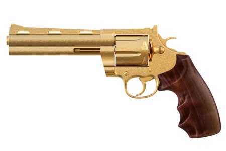 firearms: golden revolver. isolated on white.