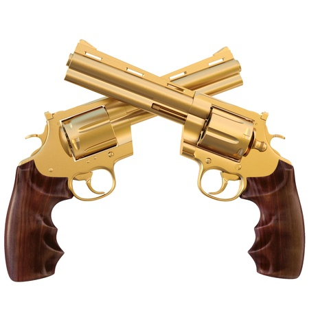 firearms: two crossed golden revolver. isolated on white.