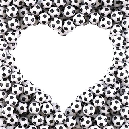 sports form: a forma di cuore cornice dal palloni. isolato su bianco.