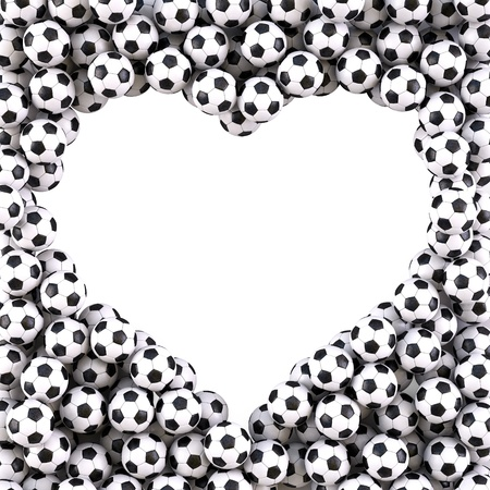 sports form: heart-shaped frame from the footballs. isolated on white.