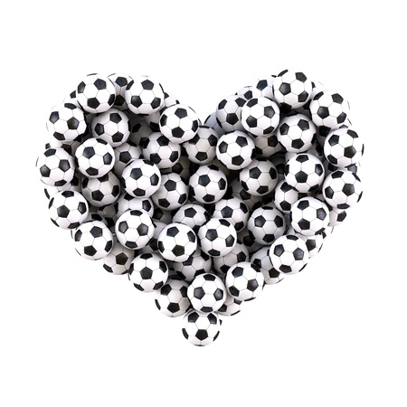 heart from the footballs. isolated on white. photo
