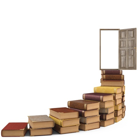 hardcover book: stairs made of books leading to the open door. isolated on white.