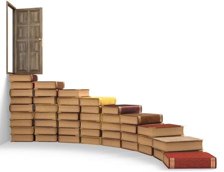 portadas de libros: escaleras de libros hacia la puerta abierta. aislado en blanco. Foto de archivo