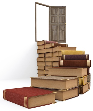 steps to success: stairs made ​​of books leading to the open door. isolated on white.