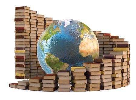 図書館: 書籍のスタックを持つグローブ。白で隔離されます。