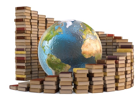 hardcovers: globe with stacks of books. isolated on white.