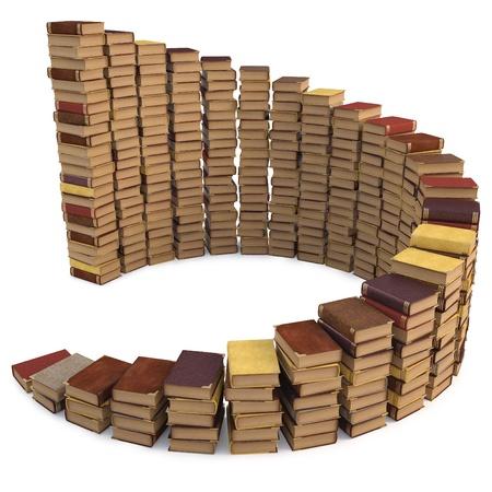 in a pile: pilas de libros en forma de una escalera de caracol. aislado en blanco.