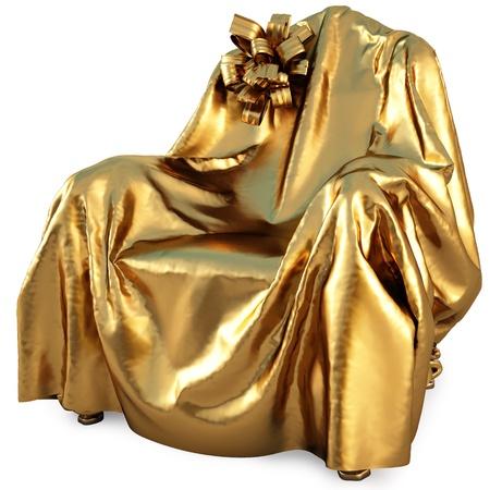tissu or: chaise recouverte de tissu d'or avec un arc. isol� sur blanc. Banque d'images
