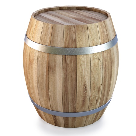 compartments: Wooden barrel. isolated on white Stock Photo