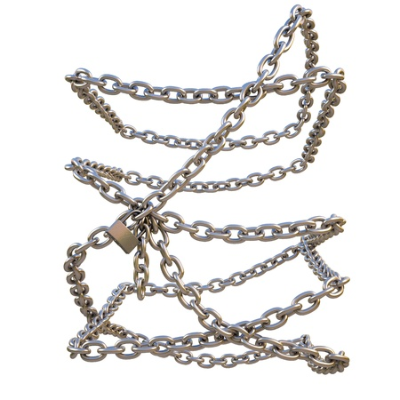three dimensional accessibility: chain of steel entangled around an invisible object. isolated on white. with clipping path.