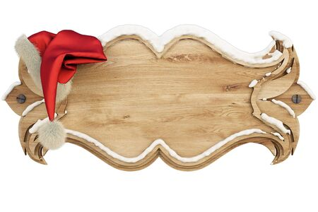 wooden hat: on a wooden banner covered with snow hanging hat of Santa Claus. isolated on white including clipping path Stock Photo