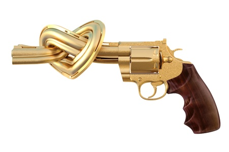 war crimes: golden revolver with the barrel tied in a heart-shaped. isolated on white. Stock Photo