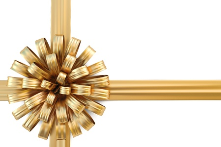 beautiful golden bow with a ribbon. isolated on white