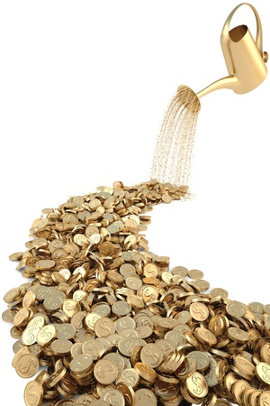 grow money: watering can pouring molten gold the road of gold coins. isolated on white. Stock Photo