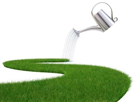 regar las plantas: regadera verter agua en la carretera de la hierba. aislado en blanco.