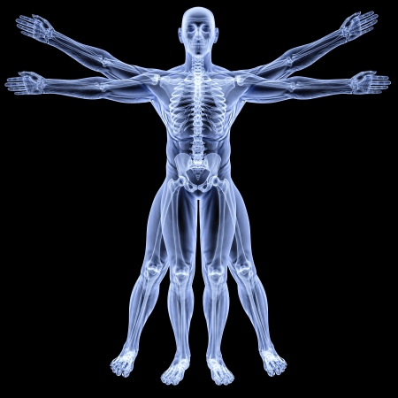 body image: vitruvian man under X-rays. isolated on black. Stock Photo
