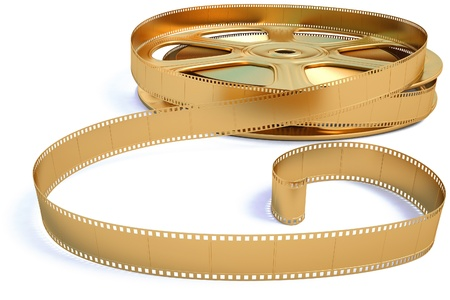 motion picture: golden film reel. isolated on white.