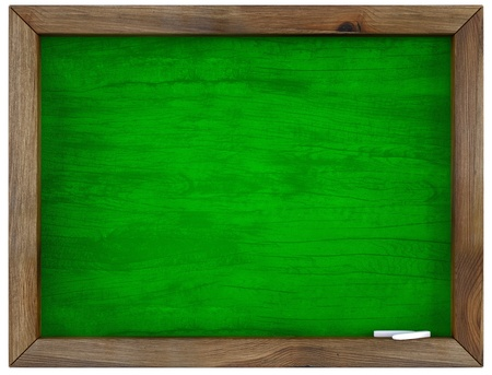 framed: blank green chalkboard in wooden frame. isolated on white. Stock Photo