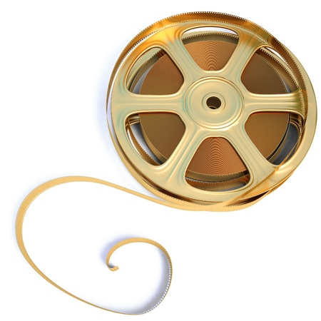 sprocket: golden film reel. isolated on white.