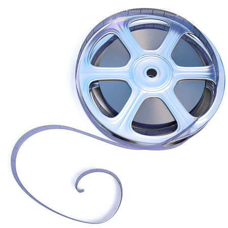 35 mm: 35 mm film reel. isolated on white. Stock Photo