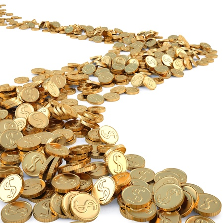 seguito: strada di monete d'oro. isolato su bianco.