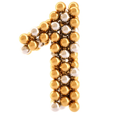 numeration: numbers from golden and silver balls. isolated on white.