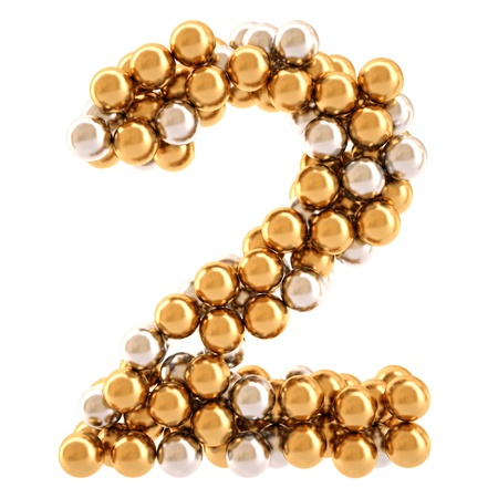 numbers from golden and silver balls. isolated on white. photo