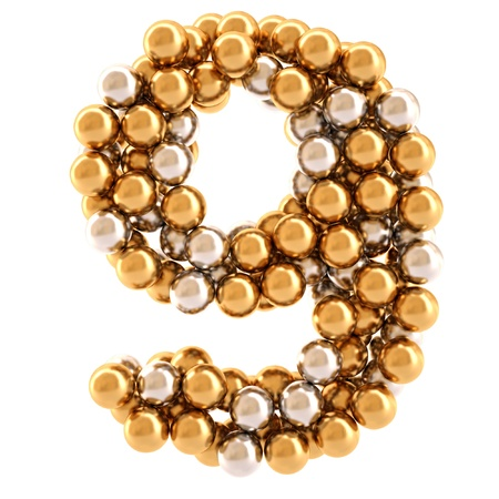 golden font: numbers from golden and silver balls. isolated on white.