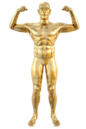 metal sculpture: golden statue of athlete. isolated on white. Stock Photo