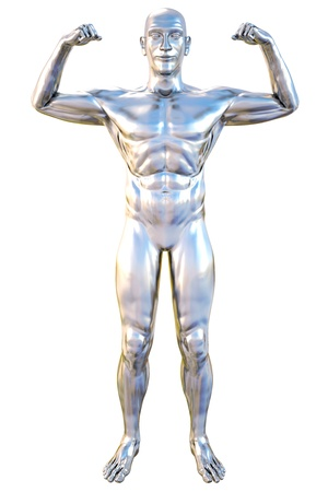 chrome man: silver statue of athlete. isolated on white.